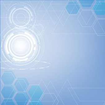 Abstract blue technology triangles and hexagon background