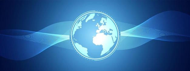 抽象ブルーテクノロジーウェーブデザインデジタルグローバルネットワーク背景通信コンセプト
