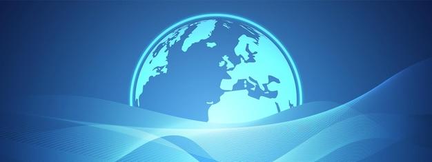 Абстрактная синяя технология волна дизайн цифровая глобальная сеть фон коммуникационная концепция