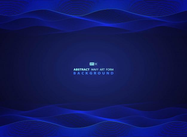 Abstract blue technology wavy of modern artwork template
