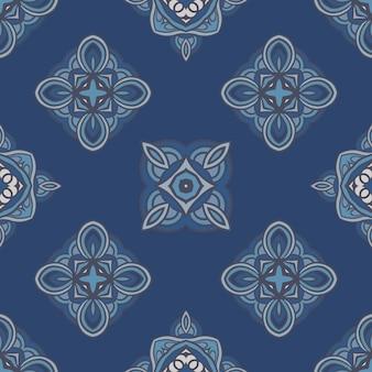 抽象的な青いタイルのシームレスな装飾的な落書きアートパターン