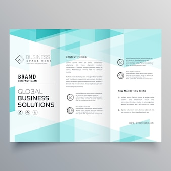 Abstract blue tri fold brochure design template for your business