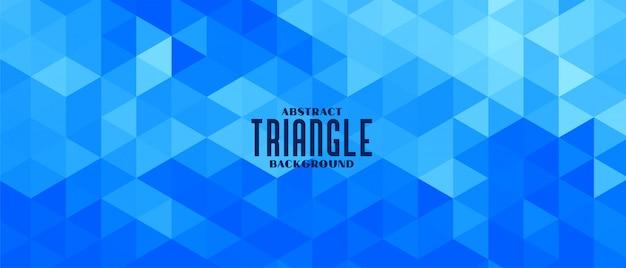 抽象的な青い三角形の幾何学模様のバナーデザイン
