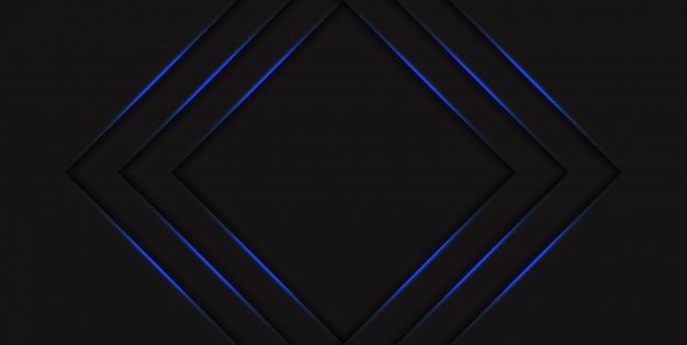 グラデーションの青いネオン輝く矢印と抽象的な青い三角形ハーフトーンの背景。光沢のあるラインを持つハイテクコンセプト。バナーやポスターのテンプレート