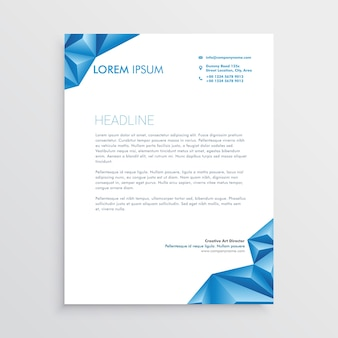 Abstract blue triangle style letterhead design