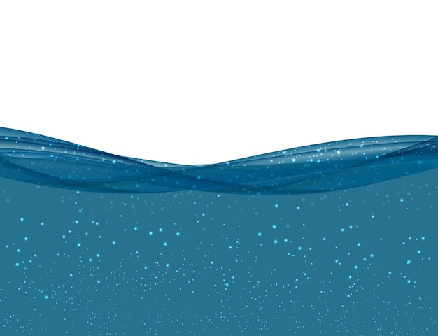 Abstract blue underwater ocean wave on transparent background. vector illustration