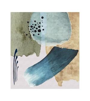 ステイン要素と抽象的な青いビンテージトーンの水彩画。