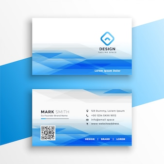 Abstract blue visiting card layout design template