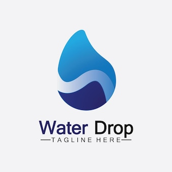 Abstract blue water drop logo vector illustration design template.