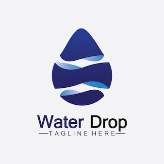 抽象的な青い水滴のロゴベクトルイラストデザインテンプレート。