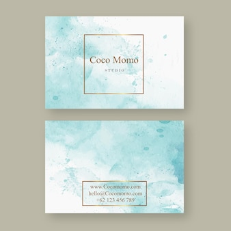 抽象的な青い水彩aquarelleカードテンプレート