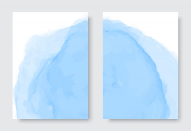 Abstract blue watercolor background set