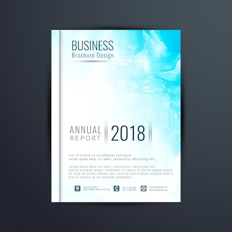 Abstract blue watercolor business brochure