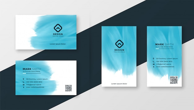 Abstract blue watercolor creative business card design
