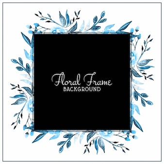 Abstract blue watercolor flower frame background