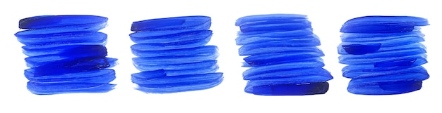 抽象的な青い水彩グランジブラシストロークセット