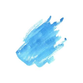 白い背景の上の抽象的な青い水彩画。