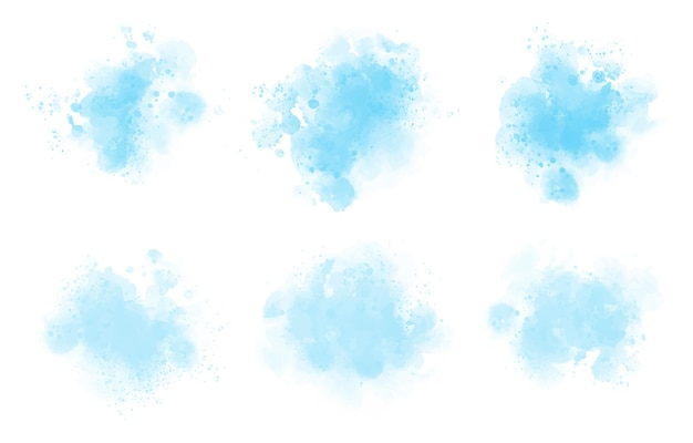 Abstract blue watercolor stain set