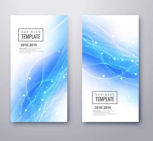 Абстрактные синие волны баннеры набор векторных иллюстраций