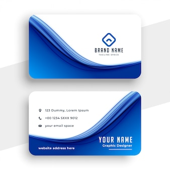 Abstract blue wave business card template