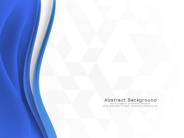 Abstract blue wave design on mosaic background vector