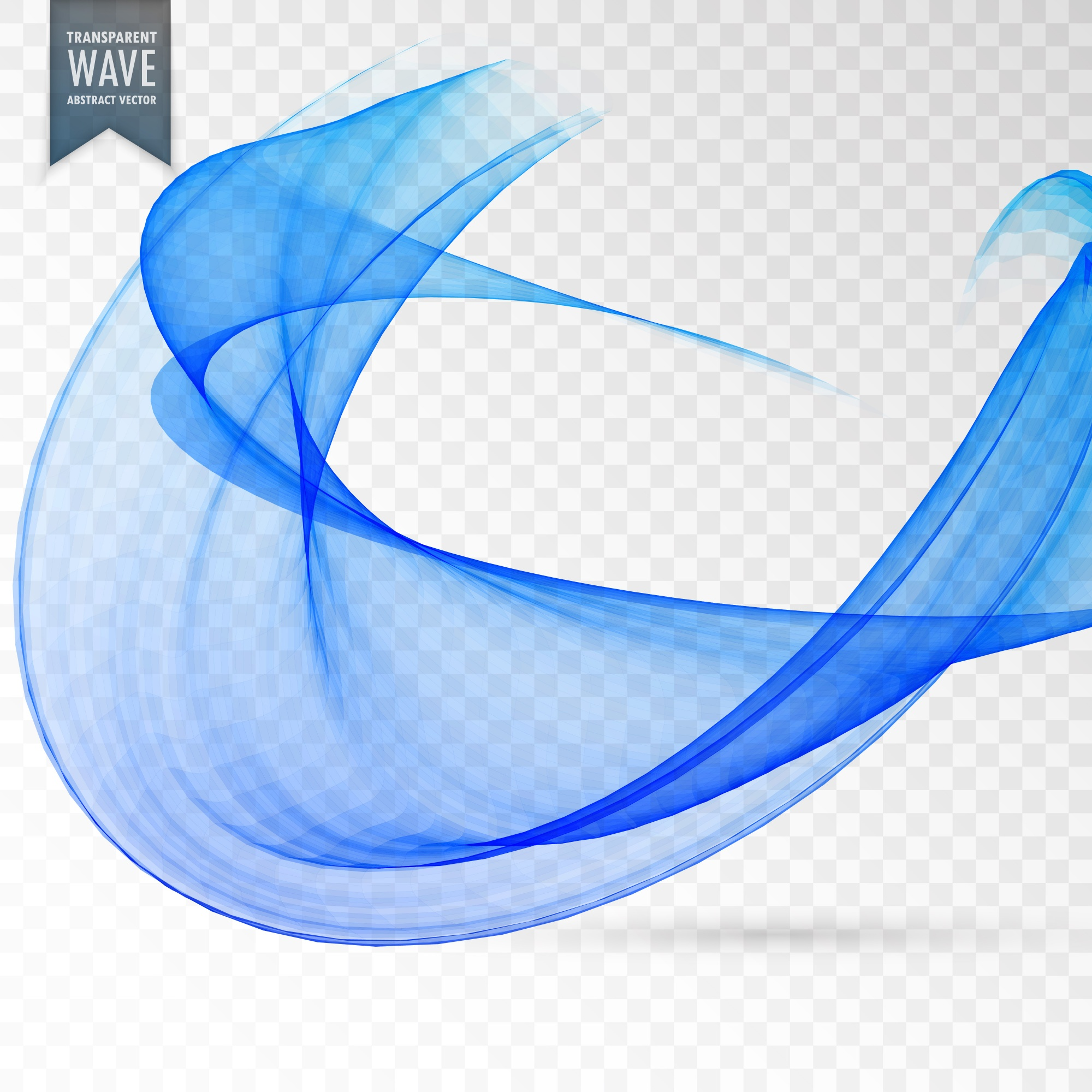 Abstract blue wave on transparent background