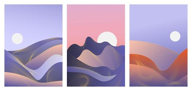 ソーシャルメディアストーリーの抽象的な青い波勾配風景セットテンプレート背景
