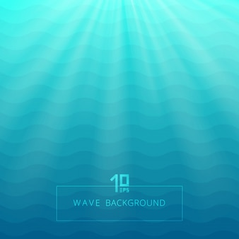 Abstract blue waves lines underwater background