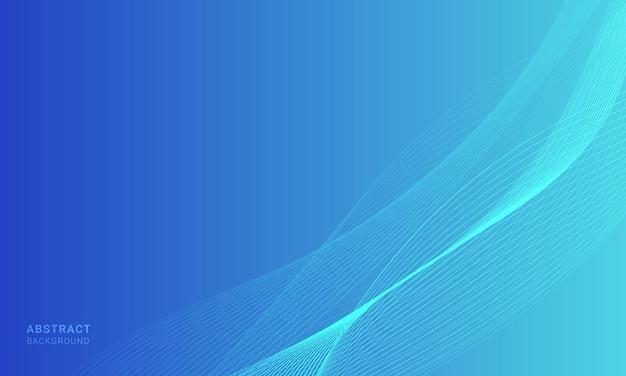 라인 웨이브와 추상 파란색 물결 모양 배경입니다.