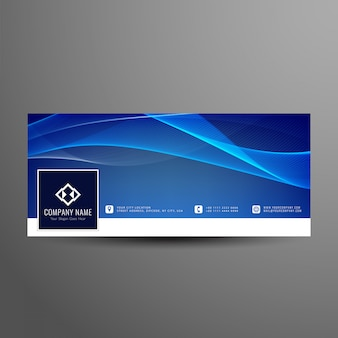 Abstract blue wavy facebook timeline cover template