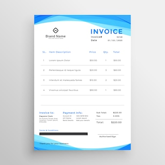 Abstract blue wavy invoice template design