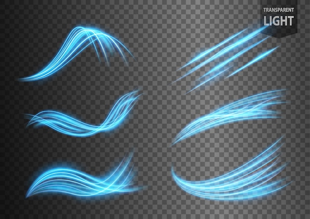 Abstract blue wavy line of light set with a transparent background