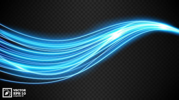Abstract blue wavy line of light