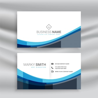 Abstract blue wavy lines business card template