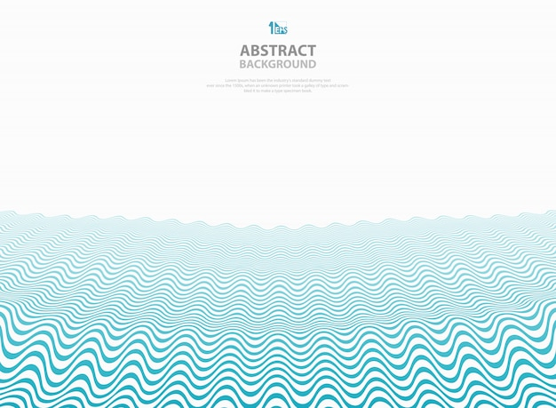 Abstract blue wavy pattern stripe lines ocean sea background