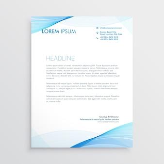 Abstract blue wavy shape letterhead design