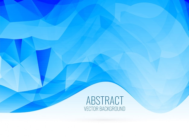 Abstract blue wavy shape triangle background
