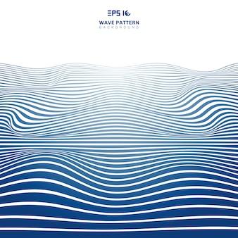 Абстрактные синие волнистые полосы линии волновая картина