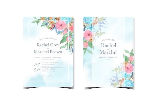 화려한 꽃으로 추상 블루 결혼식 초대 카드