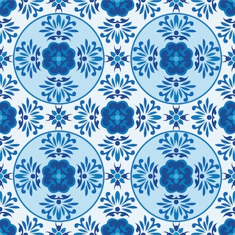 Abstract blue and white ornamental flower seamless pattern.