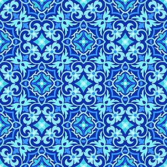 Abstract blue and white ornamental seamless pattern.