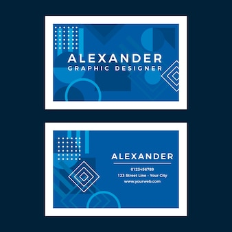 Abstract blue with white frames business card template