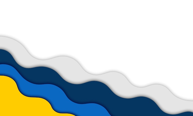 Abstract blue, yellow and gray wavy shape with shadow. background for designs.