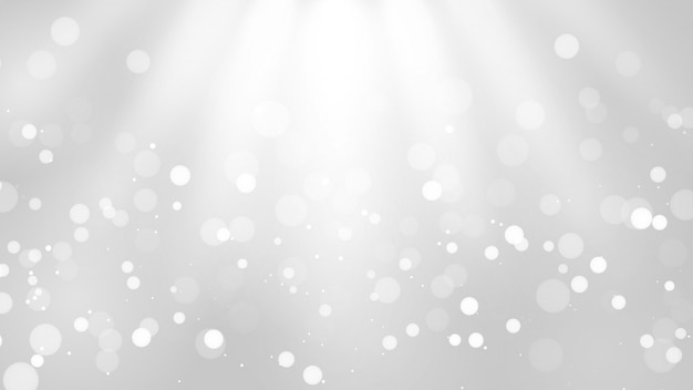 Abstract blur white and gray color background with white bokeh lights defocused.
