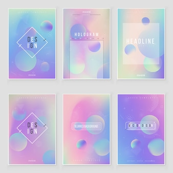 Abstract blurred holographic gradient  background set modern design. iridescent cover for creative project