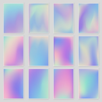 Abstract blurred holographic gradient  background set modern design.