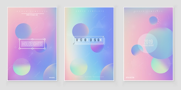 Abstract blurred holographic gradient  background set modern minimal design. holographic foil vector
