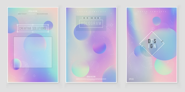 Abstract blurred holographic gradient background set modern minimal design