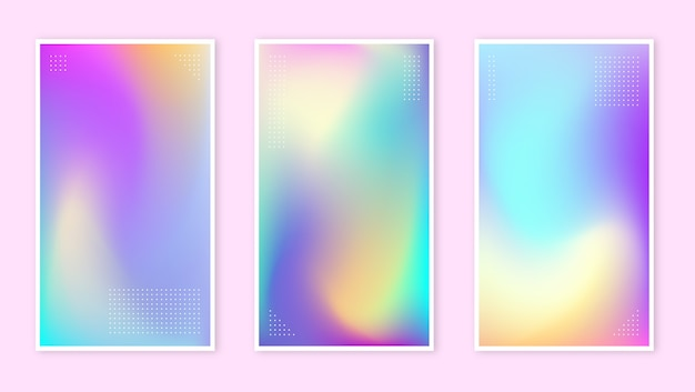 抽象的なぼやけたホログラフィックグラデーションの背景セット