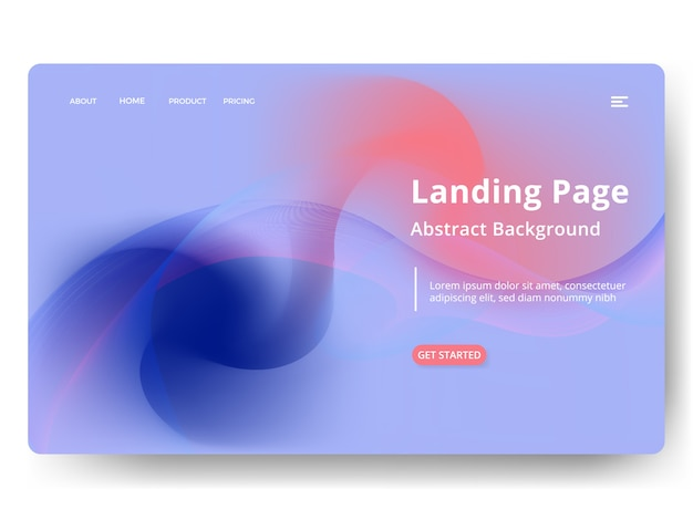 Abstract blurred holographic gradient landing page template